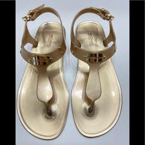 Michael Kors Jelly Thong MK logo Gold Plate Sandal